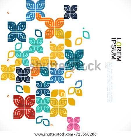 colorful pattern and variety graphic decoration with floral and contemporary Thai art pattern graphic concept, vector illustration