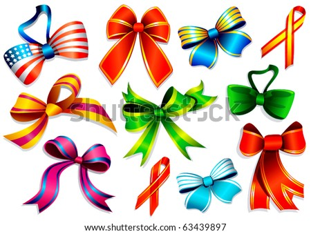 Colorful pattern ribbons and bow ties