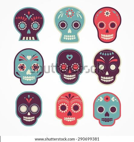 colorful patterned skull set