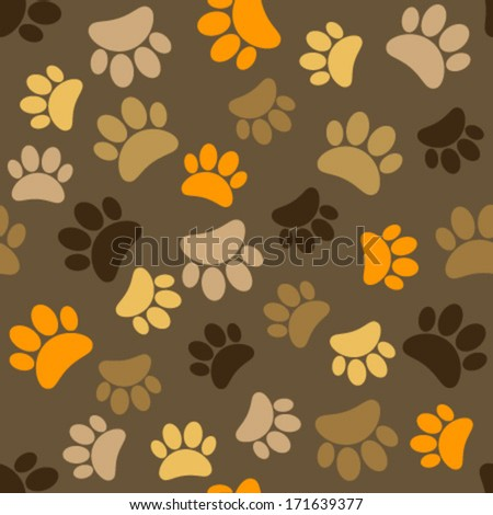 colorful paws on brown seamless pattern