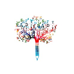 Colorful pencil tree vector illustration with font letters. Typeset design for news, creative writing, storytelling, blogging, education, book cover, article and website content writing, copywriting