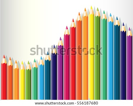 colorful pencils row on white, rainbow colors