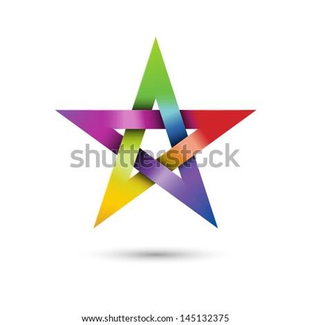 colorful pentagram  vector