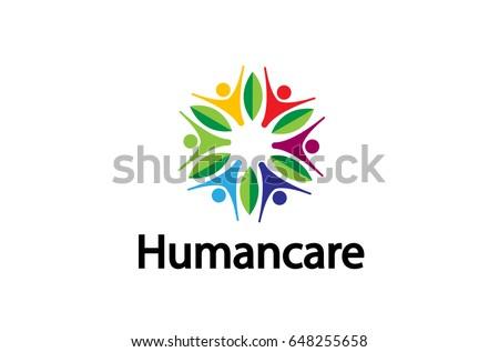 Stock Photo Colorful People Group Leaves Team Logo Design Illustration