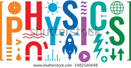 colorful physics word and physics symbols design