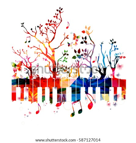 colorful piano keyboard with