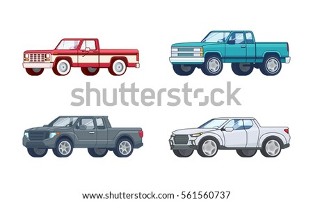 Colorful pickup truck models collection of modern design in flat style on white background isolated vector illustration