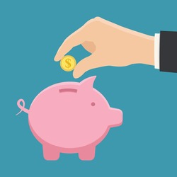 colorful piggy bank and hand with coin flat style vector illustration