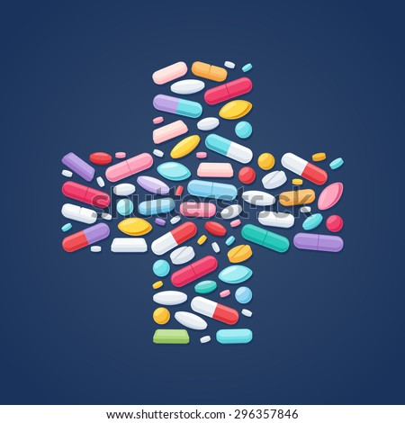Colorful pills tablets capsules icons in cross shape vector background. Medicine health care symbols.
