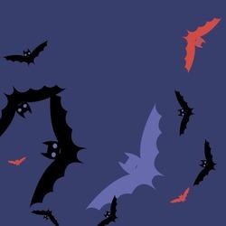 Colorful Pink Gothic Motion Red Bats Vector Illustration. Night Creepy Attack Purple Halloween Art Illustration. Print Scary Retro Spooky Flying Bats Art Pattern. Chaos Black Eyes Sky Wallpaper.