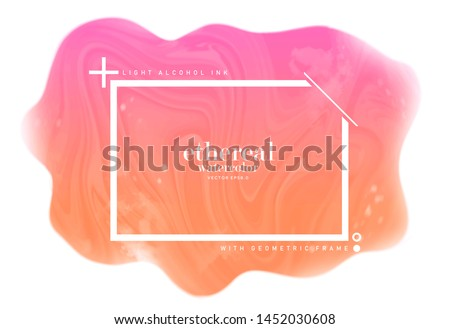 colorful pink orange ink stain. ethereal pastel watercolor splotch. light fluid alcohol textured on white background. abstract geometric frame with text space. eps 8