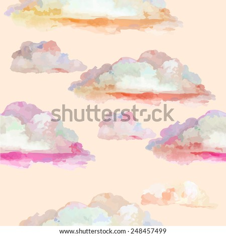 colorful pink watercolor clouds....