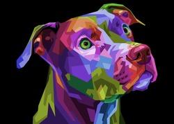 colorful pitbull terrier dog on pop art geometric .vector illustration