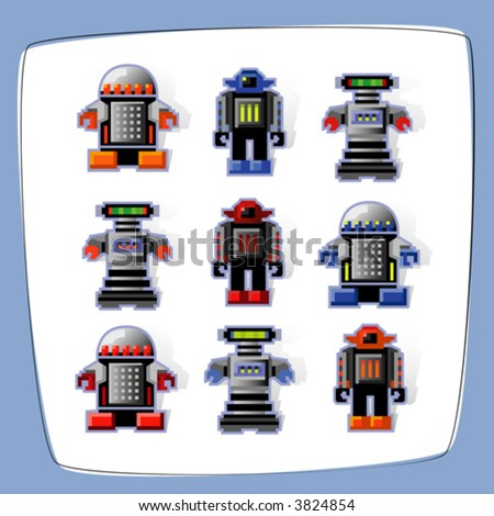 Colorful, pixel art robot icons with cast shadow. Easy-edit vector file.