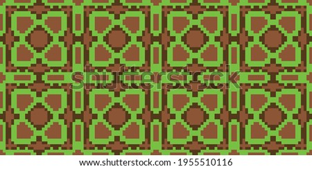 Colorful Pixel background seamless pattern. Vector illustration  Colors:  Rope, Brown Bramble, Kelly Green