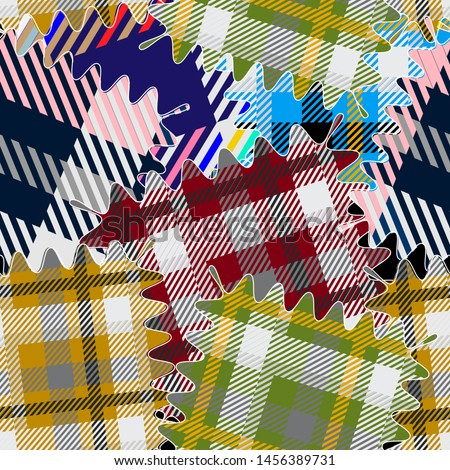 Colorful plaids seamless pattern. Vector textured tartan patchworks background. Striped materials. Geometric abstract repeat backdrop. Stripes, shapes, lines, squares. Wavy frame. Modern plaid texture