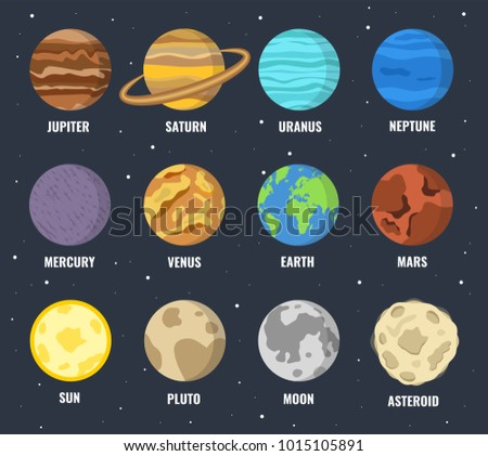 colorful planets set vector
