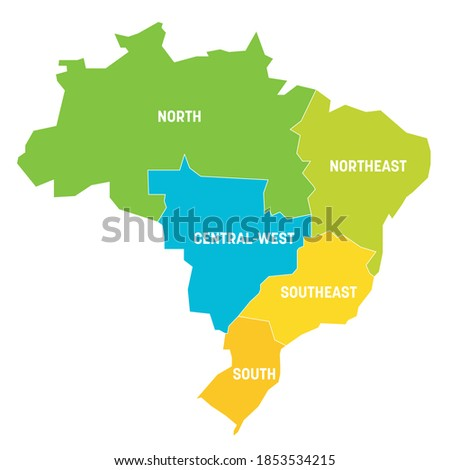 Colorful political map of Brazil. States divide by color into 5 regions . Simple flat vector map with labels. Stock fotó ©