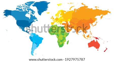 Colorful political map of World. Different colour shade of each continent. Blank map without labels. Simple flat vector map.