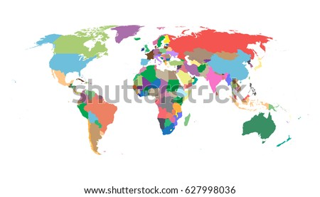 Colorful political world map isolated on white background. World Map Vector template for website, infographics, design. Flat earth world map illustration. #627998036