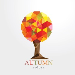 colorful polygonal autumn tree design element in low poly style isolated on white background
