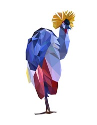 Colorful polygonal style design of tropical bird in blue and purple colors