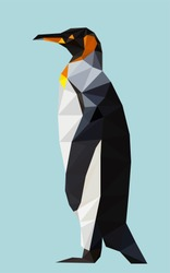 Colorful polygonal style design of wild african penguin