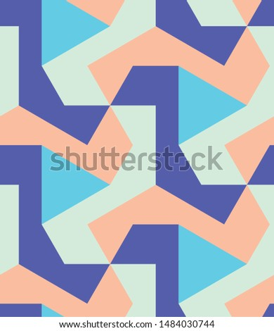 Colorful polygons shapes tile mosaic multi-colored blocks, seamless repeat vector pattern.  Triangle, square, diamond, trapezoid, hexagon, polygon. Blue, peach, blush.