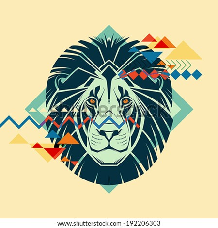 Colorful portrait of a lion Creative illustration