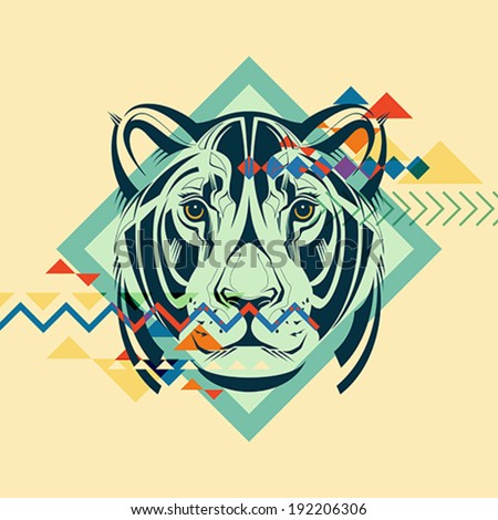 Colorful portrait of a tiger. Creative illustration