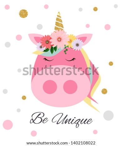 """Colorful postcard With colorful pig with the inscription """"Be Unique"""". Vector Illustration. EPS10"""