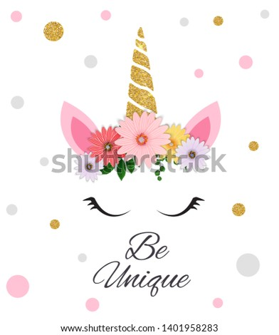 """Colorful postcard With colorful unicorn with the inscription """"Be Unique"""". Vector Illustration. EPS10"""