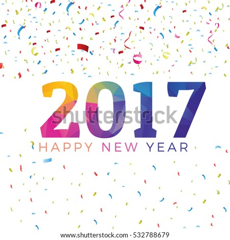 Colorful 2017 poster design. Happy new year 2017 calander vector #532788679