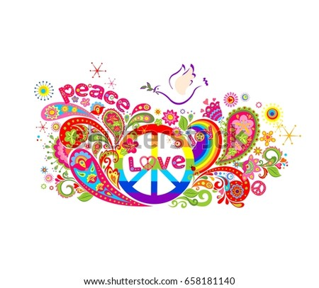 Colorful poster with abstract flowers, rainbow, hippie peace symbol and dove