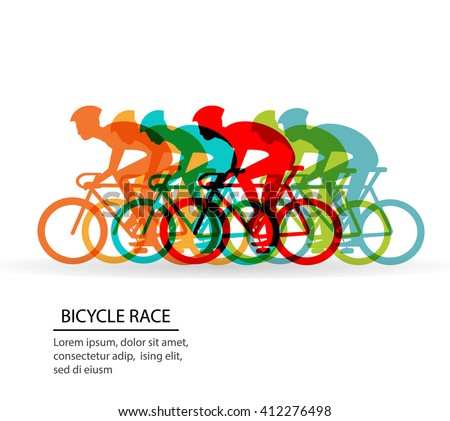 Colorful poster with cyclists riding bicycles.  Cycling poses in bright silhouettes. Bicycle road racers. Competition and marathon. Adventure and travel outdoor on bicycle.  Bike courier, vector