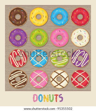 Colorful poster with donuts