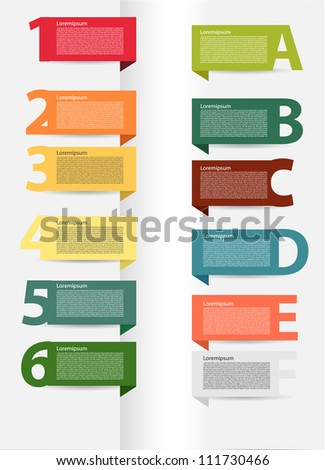 Colorful presentations with letters and numbers - stock vector