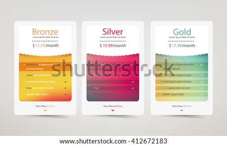 Colorful pricing plans for websites and applications. Hosting table banner.