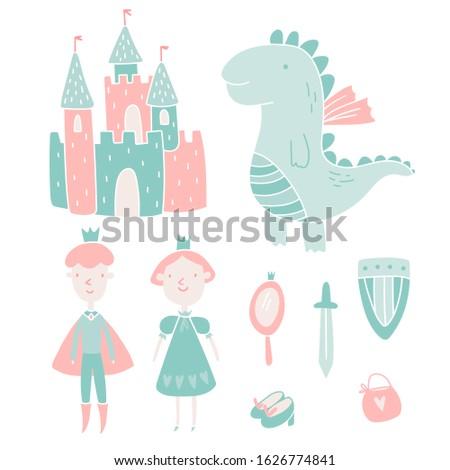 colorful princess and prince