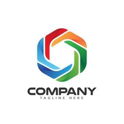 Colorful Propeller Icon Hexagon Vector Logo Template Design Illustration