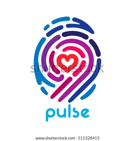 Colorful pulse fingerprint logo with heart shape inside. Conceptual security logo or identification icon of dashed line finger print