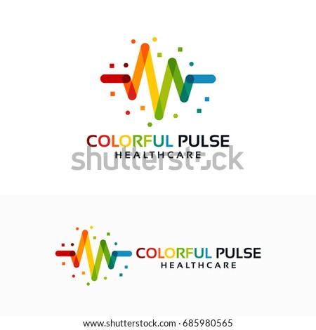 Colorful Pulse Logo minimalist vector, Colorful Pulse Icon