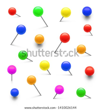 Colorful push pins set in different angles. Realistic thumbtacks. Vector illustration isolated on white background. Easy to use for your design. EPS10.
