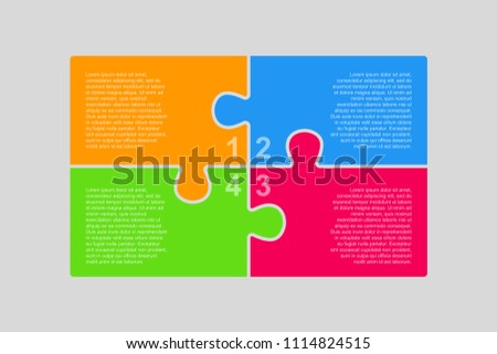 Colorful Puzzle Four Pieces Rectangle Presentation. Rectangle Infographic. 4 Steps Process Diagram Card. Section Banner. Rectangle Puzzles Pieces. 4 Steps Infographics.
