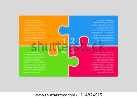 Colorful Puzzle Four Pieces Rectangle Presentation. Rectangle Infographic. 4 Steps Process Diagram Card. Section Banner. Rectangle Puzzles Pieces. 4 Steps Infographics.