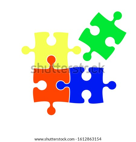 Colorful puzzle vector icon illustration