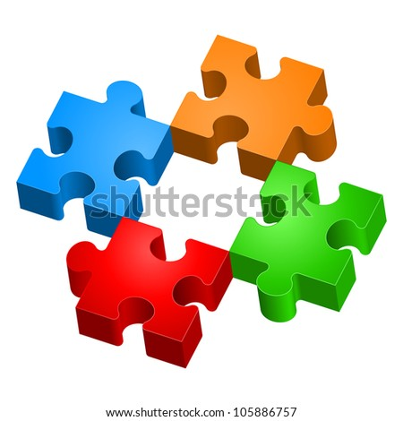 Colorful puzzles. The form of the second.  Illustration for design on white background