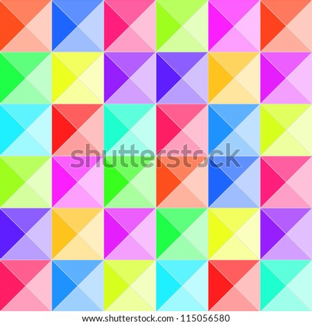 Colorful pyramid relief seamless pattern, vector