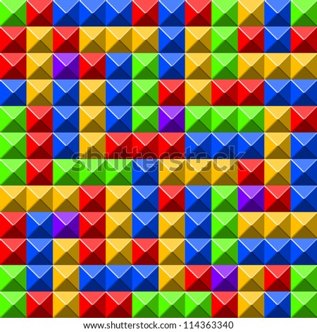 Colorful pyramid tiles pattern