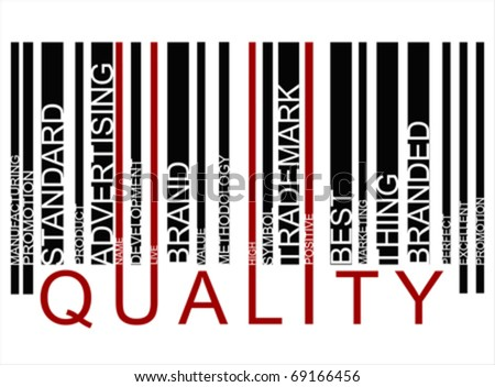 colorful QUALITY text barcode, vector